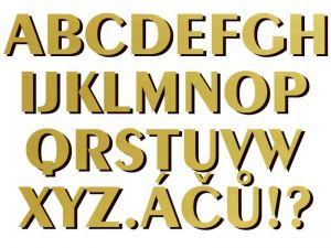 font Exotic 350 Bd AT zlatý plast