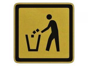Piktogram odpadkový koš zlatý