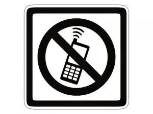 piktogram zákaz telefonování bílý