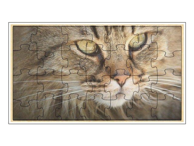 Dřevěné puzzle kočka