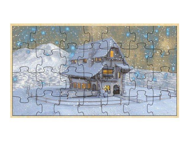 Dřevěné puzzle zimní krajina
