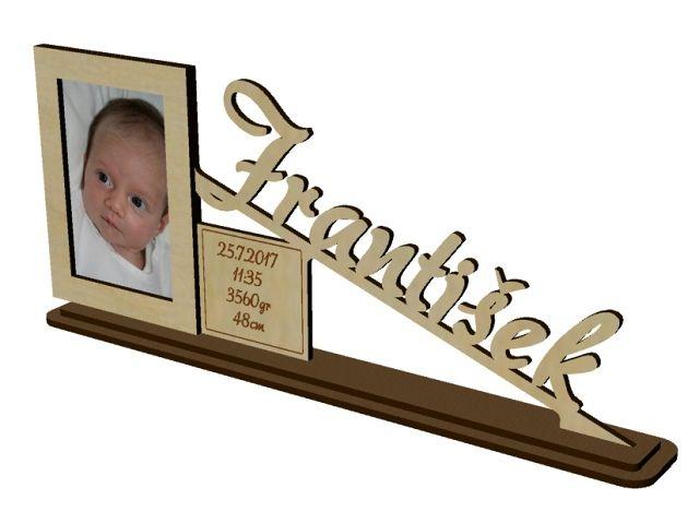 fotorámeček s údaji o narození