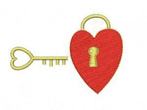 Výšivka Srdce s klíčem