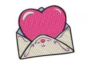 Výšivka Srdce v obálce