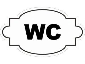 Dveřní štítek WC bílý