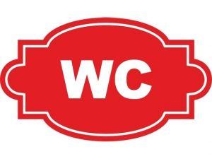 Dveřní štítek WC červený