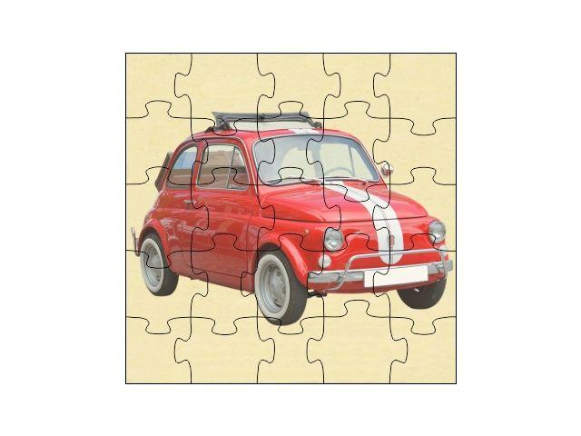 Dřevěné puzzle Fiat 500