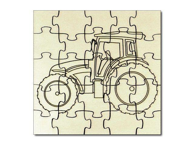 Dřevěné puzzle Traktor